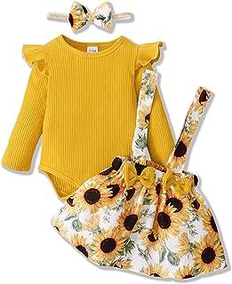 ZOEREA Ensemble de Vêtements pour Bébé Fille 0-18 Mois 3 Pièces Nouveau-né Enfants Robe Tenues Set Mode Manches Longues Ba...