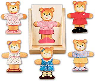 Melissa & Doug Wooden Bear Dress-Up Play Set (18 pcs)