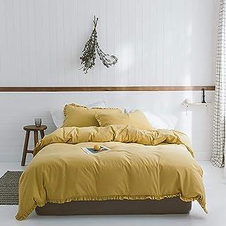 QTQHOME Vintage Volant Couverture De Couette,Solid Color 100% Lavé Coton Housse De Couette,Ferme Rustic Doux Couvercle De ...