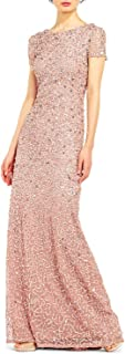 Women's Short-Sleeve All Over Sequin Gown
