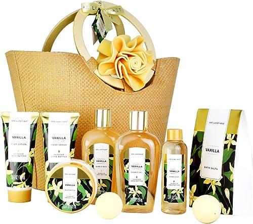 Spa Luxetique Coffret Cadeau pour les Femmes, 10 PC Coffret de Bain, Parfum de Vanille, Crème pour les Mains, Cadeau ...
