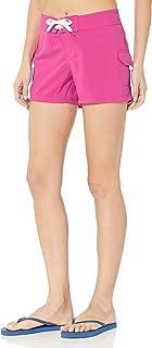 HEOEH Womens Spring Pink Rose Flower Beach Shorts Pants Ladies Boardshort Swimming Trunks