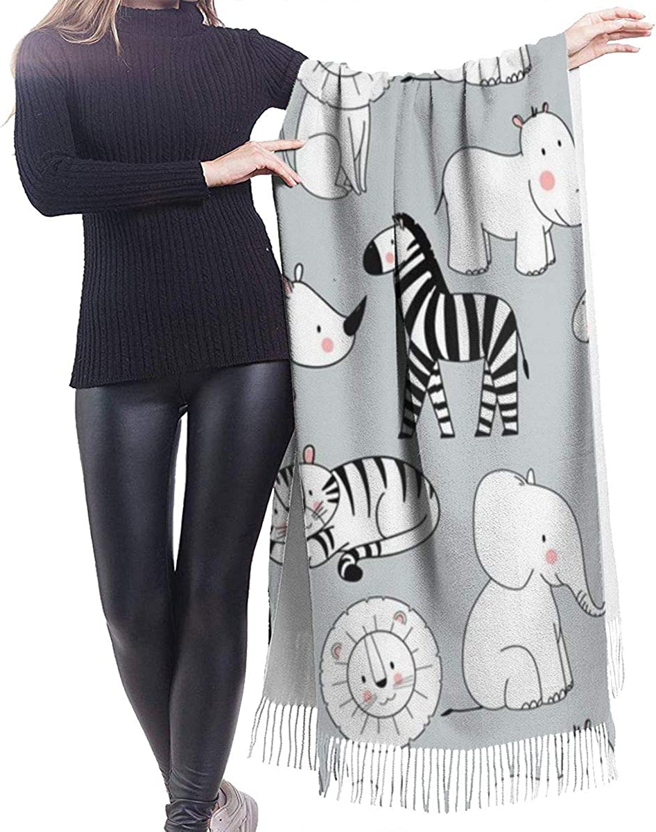 Animals Pattern Cashmere Shawl Wrap Scarf Large Warm Scarf For Women