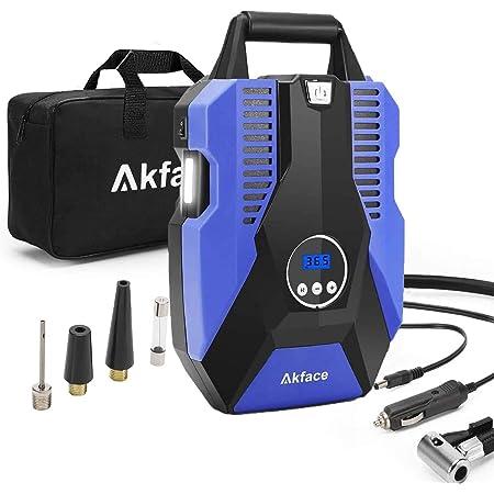 akface Gonfleur Pneu, Pompe Voiture 12V 150PSI, Portatif de Gonflage apide à Faible Bruit 35L/Min pour Pneus de Voiture, Vélos et Autres Gonfleur Electrique Voiture