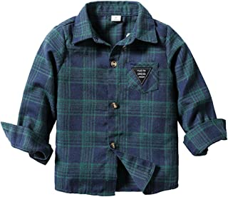 AMOUR TIME Baby Boys Long Sleeve Button Down Plaid Flannel Shirt Kids Toddler Girls Tops