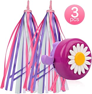 U-LIAN Kids Bike Bell and Streamers for Girls-1 Pack Flower Bicycle Bell with 2 Pack Handlebar Streamers Scooter Tassels for Children's Bike Accessories