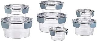 AmazonBasics Tritan 14 Piece Round Locking Food Storage Container - Clear