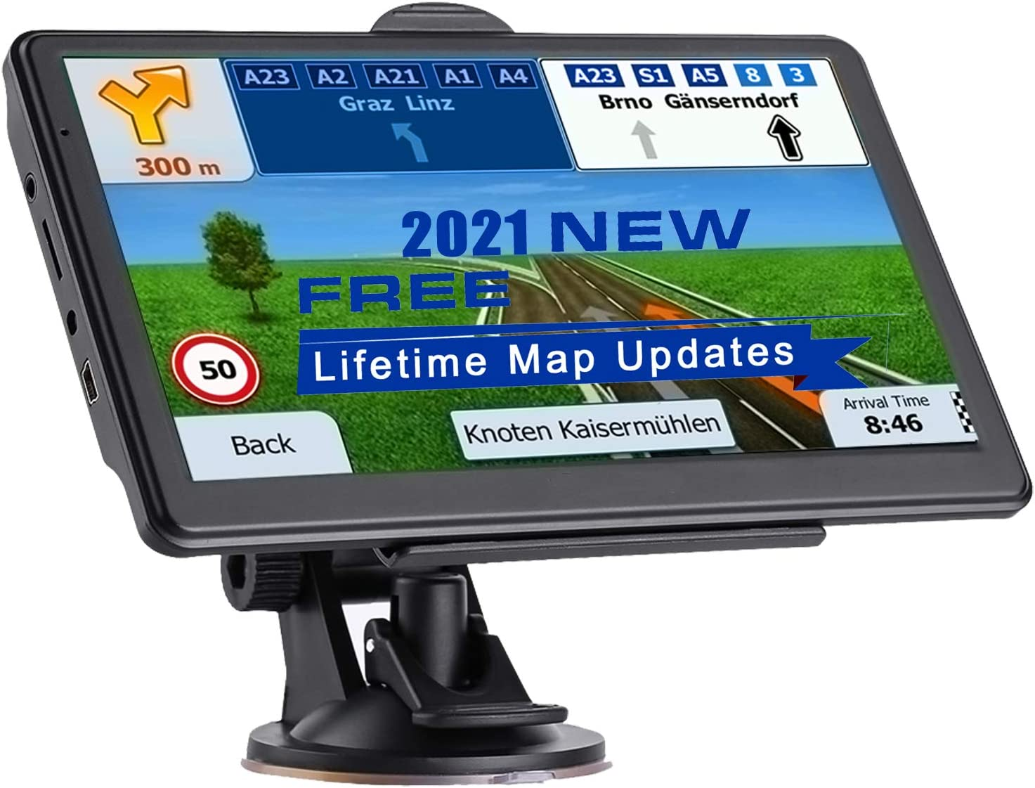 NAVRUF GPS Navigation for Car 7 Inch HD with High Resolution Touch Screen Real Voice Direction Vehicle GPS Navigator Lifetime Map Updates (Dark Gray)