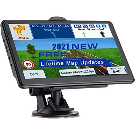 NAVRUF GPS Navigation for Car 7 Inch with High Resolution Touch Screen Real Voice Direction Vehicle GPS Navigator Lifetime Map Updates (Dark Gray)