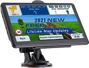 NAVRUF Sistema de navegación para coches de 7 pulgadas con pantalla táctil de alta resolución Dirección de voz real Vehículo Navegador GPS Actualizaciones de mapas de por vida (gris oscuro)