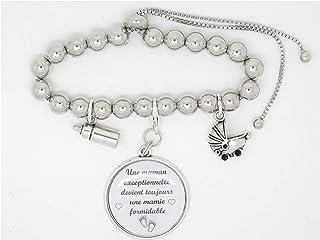 Bracelet Personnalisable Acier Inoxydable Annonce Grossesse Mamie Sœur Tata Tatie Landau et biberon F de Bm créations
