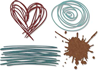 Sizzix Thinlits Die Set 660222, Scribbles & Splat by Tim Holtz, 4 Pack, Multi Color, One Size,
