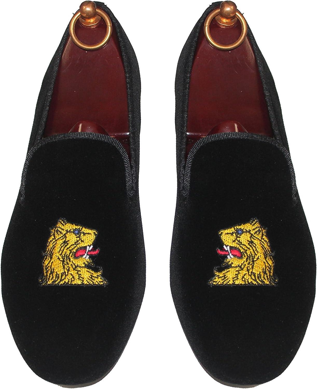SMYTHE & DIGBY Mens Velvet Loafers Lions Head Motif