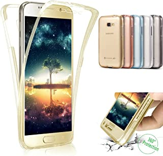 Galaxy J7 V Case, Galaxy J7 Perx Case, Galaxy J7 Sky Pro Case,ikasus [Full-Body 360 Coverage] Crystal Clear 2in1 Front Back Full Coverage Soft Clear TPU Silicone Rubber Case for Galaxy J7 2017,Gold