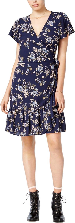 Maison Jules Womens Floral Print Mini Wrap Dress