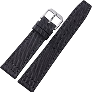 New 20mm 21mm 22mm Black Canvas Leather Watch Strap Band Buckle