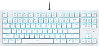 e元素ゲーミングキーボード メカニカル式キーボード英語配列87キー 青軸単色LEDバックライト付き クールなサイドグロー 英語配列コンパクト設計 防水機能 抗干渉アンチゴーストキー LOLゲーム専用キーボード(ホワイト)