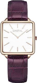 Montre Carrée Femme Cristal Or Rose - Bracelet Cuir