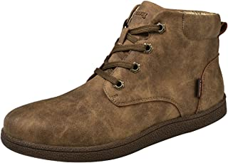 gracosy Martin Boots for Men, Men's Fashion Leather Lace up Boots Winter Cotton Lining Shoes Waterproof Boots