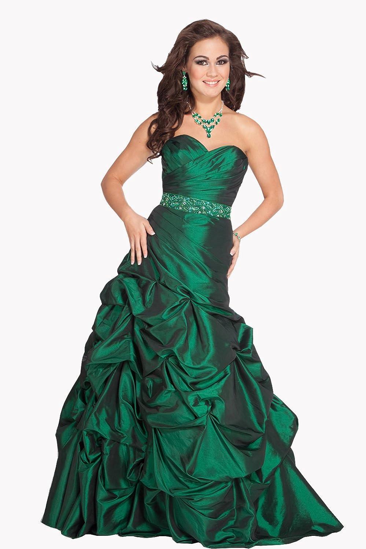 Vampal Women's Emerald Strapless Taffeta Ball Gown Beaded Sweetheart Empire Dresses