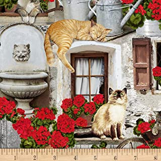 Timeless Treasures Front Cats & Geraniums Porch, Fabric by the Yard