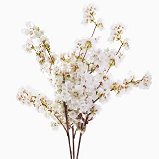 Yinhua Artificial Cherry Blossom Branches Flowers Stems Silk Tall Fake Flower Arrangements for Home Wedding (Cherry Blossom, Pack of 3)