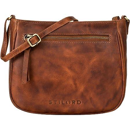 STILORD 'Samira' Handtasche Leder Frauen zum Umhängen Vintage Umhängetasche für Damen-Tasche Abendtasche Elegante Echtleder Tasche, Farbe:Porto - Cognac