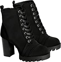 Wild Diva Lounge Womens Casual Almond Toe Lace Up Lug Sole Chunky Heel Ankle Booties - Black
