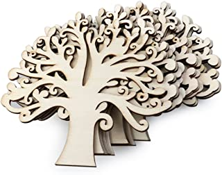 WINOMO Blank Wooden Tree Embellishments for DIY Crafts - 10pcs