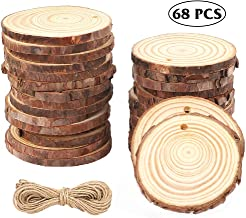 CEWOR 68pcs Natural Wood Slices 2-2.4 Inches Crafts Christmas Ornaments Craft Wood kit Unfinished Predrilled Wooden Circles for Christmas DIY Arts Rustic Wedding Decoration