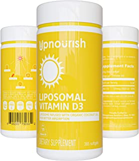 UpNourish Liposomal Vitamin D3 5000 IU Softgels - 1 Year Supply | Organic Coconut Oil Infused Vitamin D Supplements - Supp...