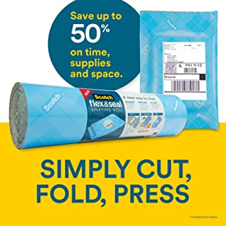 Scotch Flex & Seal Shipping Roll, 15 in x 10 Ft, Simple Packaging Alternative to Cardboard Boxes, Bubble Mailers, Poly Bags, Cushioning