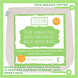 Nut Milk Bag W/ Organic Cotton and Food Grade Cheesecloth by Things&Thoughts | Eco Friendly Amazing Reusable Strainer Bags for Almond Milk, Oat Milk, Celery Juicing, Yogurt, Cold Brew Coffee & Tea