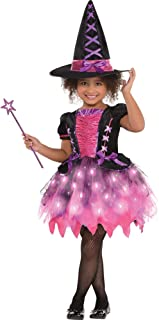 Amscan 846863 Girls Light-Up Sparkle Witch Costume, Medium (8-10), Black/Pink
