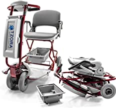 TZORA CLASSIC Lexis Light Folding Travel Scooter Red + Challenger Mobility Cover