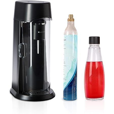 LEVIVO 331400000737 Machine à Soda Verre de 0,6l et Bouteille de CO2 de 60l, Noir, Medium