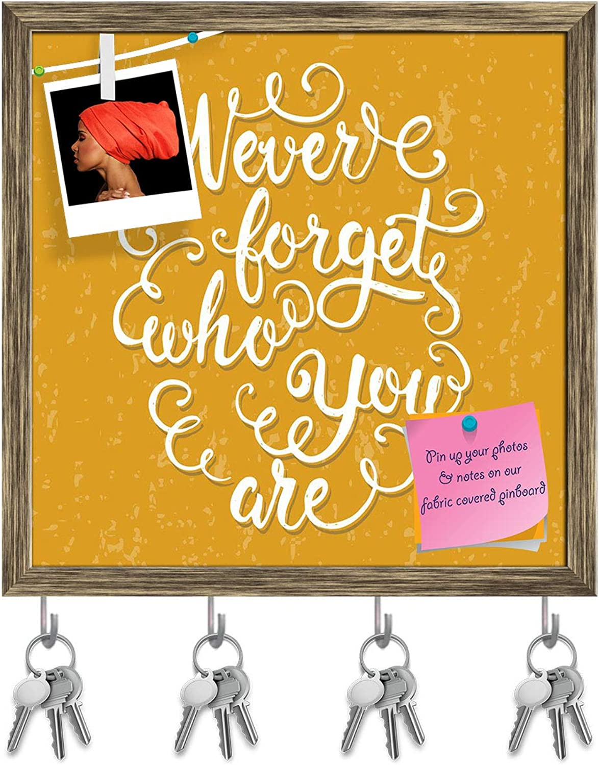 Artzfolio Never Forget Who You are Key Holder Hooks   Notice Pin Board   Antique golden Frame 20 X 20Inch