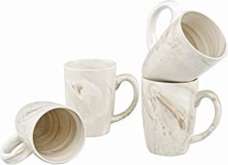 Culver 16-Ounce Palermo Ceramic Mug Set of 4 (White and Brown Marbleized)