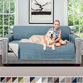 SOFA SHIELD Original Patent Pending Reversible Small Sofa Slipcover, 2 Inch Strap Hook, Seat Width Up to 62 Inch Washable Furniture Protector, Couch Slip Cover for Pet, Kids, Small Sofa, Seafoam Cream