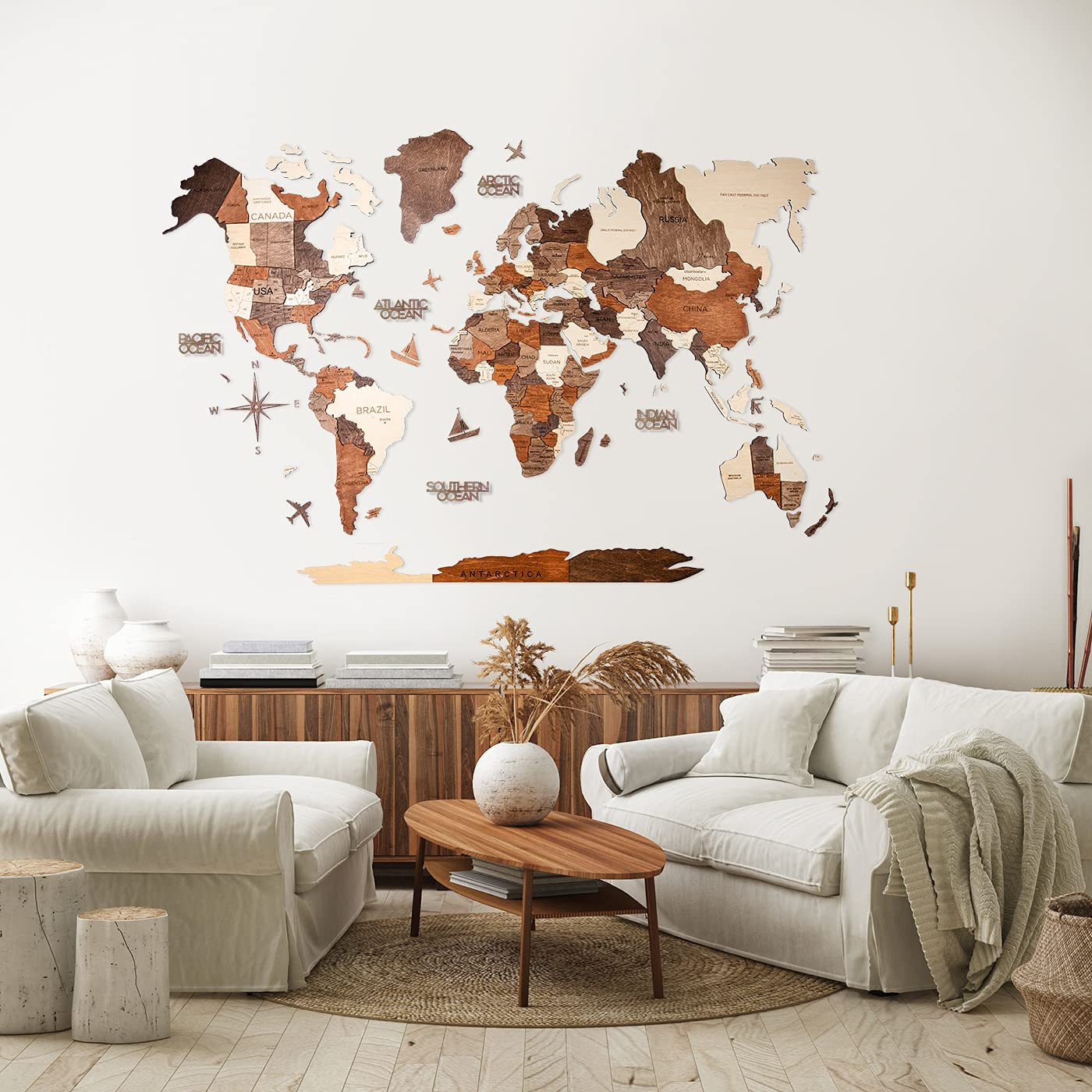 3D Wood World Map Wall Art Large Wall Décor - World Travel Map - Any Occasion Gift Idea - Wall Art For Home & Kitchen or Office (Medium, Prime, Multicolored)