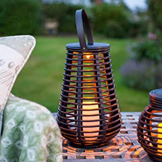 Solar Rattan Lantern, Outdoor Vintage Metal Hanging Lanterns - Outdoors Garden Decoration with Flickering Candle Light - with Handle(Pairs)