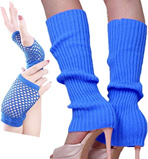 Song Qing Teen 80s Dance Plain Ribbed Women Knit Crochet Long Leg Warmers & Short Fishnet Golves Fancy Dress