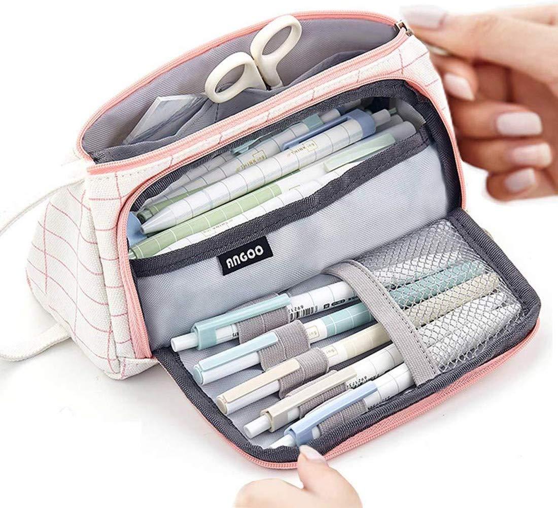 RUICHUANGS estuche escolar ,estuche mascarillas, estuche,Con mango- de gran capacidad, caja de lápices, bolsa de cosméticos, bolsa de almacenamiento,24 cm: Amazon.es: Oficina y papelería