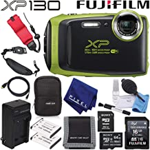 FujifilmFinePix XP130 Waterproof Digital Camera (Lime) 600019825 Advanced Accessory Bundle Includes 64GB Memory Card, Extra Battery, Battery Charger, and Floating Wrist Strap
