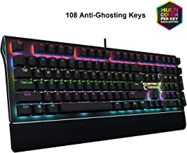 Comanro108-Key Gaming Keyboard, LED Rainbow Backlit with Side Lights, Floating Design with Blue Switch, Anti-ghosting USB Wired Mechanical Keyboard - Black