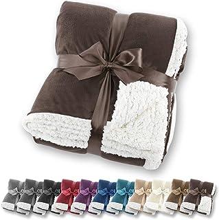 Manta de aspecto de piel de cordero Gräfenstayn® - Varios tamaños y colores - Manta para la sala de estar - Manta de microfibra de franela (Marrón oscuro, 200x150 cm)