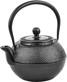 Spigo Osaka Cast Iron Enamel With Stainless Steel Infuser Teapot, Black, 38 Ounces
