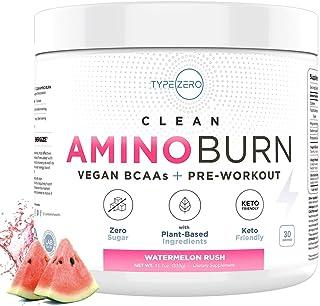 Amino Burn | Clean Vegan BCAA & Pre Workout (6g | Watermelon Rush) Sugar-Free, Plant Based BCAAs Amino Acids Powder & Keto...