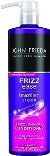 John Frieda Frizz Ease Brazilian Sleek Frizz Immunity, Smoothing Conditioner 500ml for Frizzy, Medium to Coarse Hair