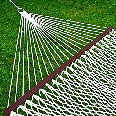 Best Choice Products Hammock 59  Cotton Double Wide Solid Wood Spreader Outdoor Patio Yard Hammock (Without Stand)